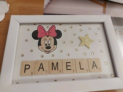 Personalised Picture Framed Scrabble Letter Mickey Thomas Lilo Dumbo Birthday • 5.50£