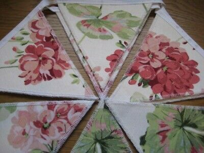 New Geranium Pale Cranberry Laura Ashley Fabric Handmade Bunting 10 Double Flags • 19.95£
