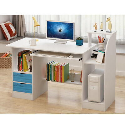 White Computer Desk PC Table Study Laptop Home Office Workstation 2 Cabinet Kids • 75.99£