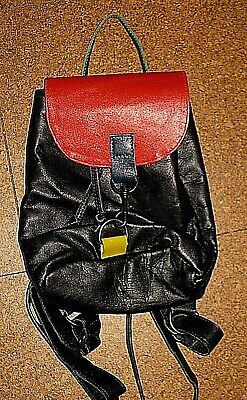 AU129 • Buy VINTAGE 80s 90s TEJADA LEATHER BLACK RED YELLOW GREEN BACKPACK BAG PURSE
