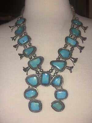 $ CDN1268.69 • Buy Turquoise Squash Blossom Necklace Vintage Sterling Silver 187 Gram Old Pawn