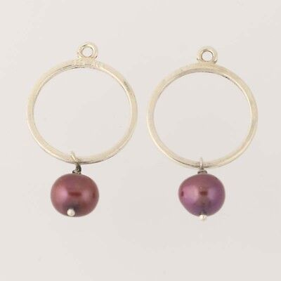 New Pandora Earring Charms Copper Pearl Hoops Retired 290613PRC Sterling Silver • 46.59£