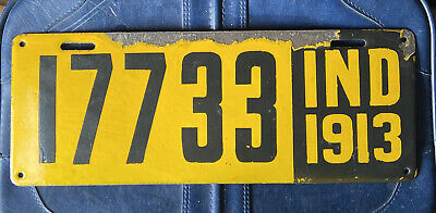 $ CDN130.78 • Buy 1913 INDIANA LICENSE PLATE Porcelain One Yr Only Rare HQ G++17733 IND 13 Yellow