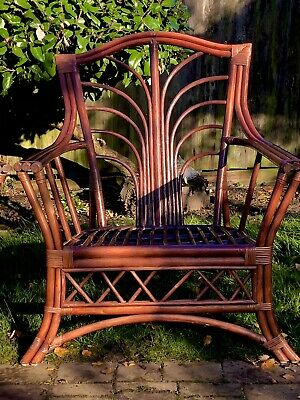 Pair Of Angraves Style Burgundy Bamboo Armchairs • 145£