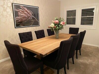 AU1250 • Buy Dining Table And Chairs - Suits French, Hamptons, Or Industrial Style, 8 Seater.