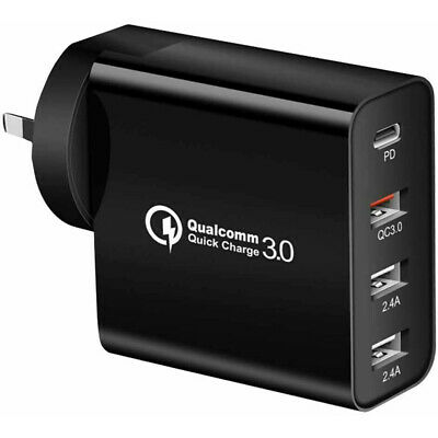 AU21.65 • Buy 48W QC3.0 4 Port PD Fast Charging Charger Multi USB Type C Wall AU Plug Adapter