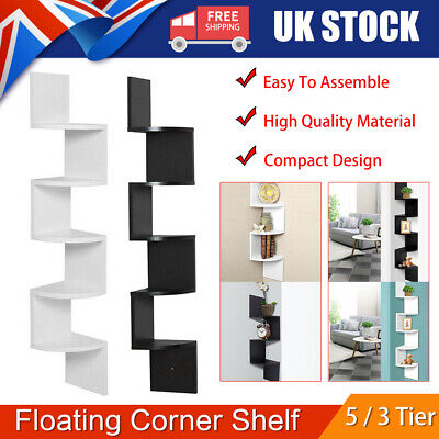 3/5 Tier Floating Wall Shelves Corner Shelf Storage Wood Display Bookcase Decor • 20.99£