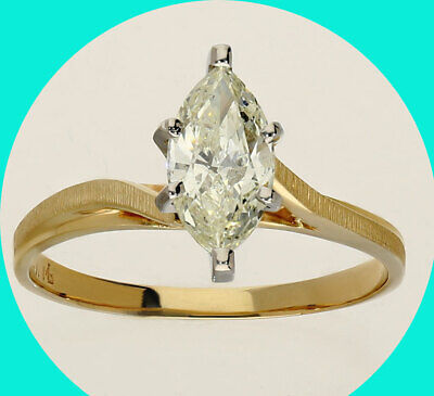 AU2392.79 • Buy 1.01C Diamond Solitaire Engagement Ring Marquise Brilliant 14Kyellow Gold Bypass