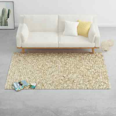 VidaXL Rug Wool Felt Pebble 140x200cm Area Rug Floor Mat Flooring Carpet Room • 357.99£