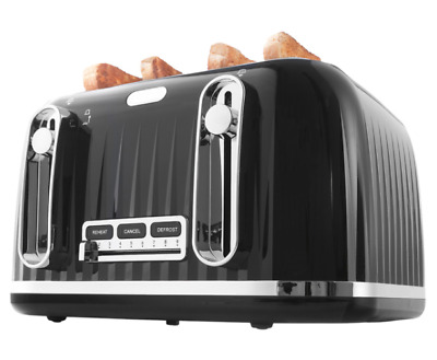 AU59 • Buy New Durable 4-Slice Euro Toaster Slide Crumb Tray Reheat Defrost Function Black