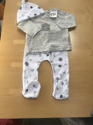 Bnwot Unisex Baby 3 Piece Suit/ Playsuit Grey & White 3-6 M By Mothercare Rrp£17 • 7.50£