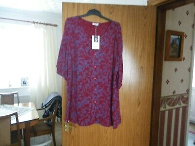 Sheego Ladies Two Toned Floral Detail Short Sleeved Dress Size 20 Bnwt • 3£