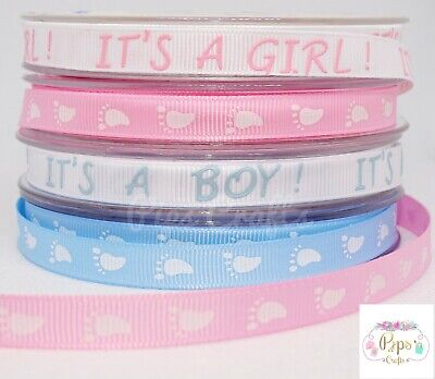 £2.75 • Buy It's A Girl Boy Baby Feet Ribbon - Pink Blue 5 Metres Crafts Sewing Baby Shower