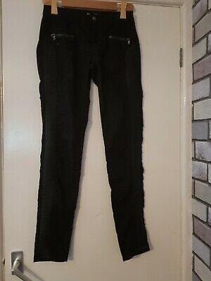 Patr Of Black Jeggings With A Stripe Of Leather Each Side.  Sz 8. From Crazy Lov • 2£