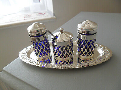 Vintage Mayell & Co Queen Anne Silver Plate Cruet Set Glass Containers • 6£