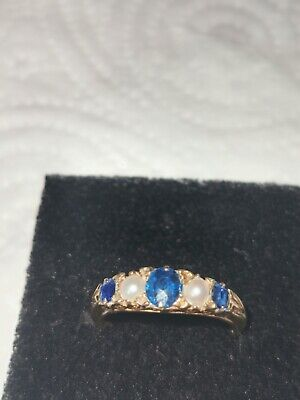 9 Ct Gold Ring With Sapphires And Pearls • 79.99£