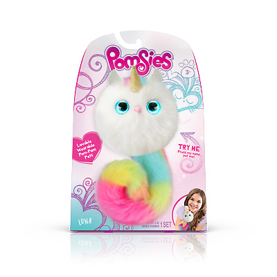 $ CDN18.07 • Buy Pomsies Pom Pom Pet Luna Plush Interactive Toy - White With Rainbow Tail & Horn