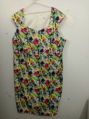 AU8 • Buy Asos Dress Us 20 Funky Floral Fitted Frock