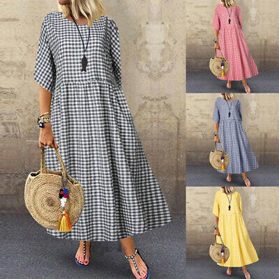 AU15.03 • Buy ZANZEA Women Party Plaid Check Dress Vintage O Neck Flare Maxi Kaftan Plus Size