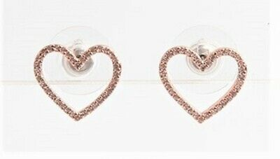 $ CDN25.19 • Buy Kate Spade New York Scrunched Rose Gold Pave Heart Stud Earrings