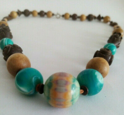Beaded Wood Brown/Turquoise Necklace-Statement Piece Costume Jewellery Ladies  • 6.99£