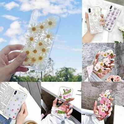 For IPhone 12 11  XS Max XR 6 7 + Cover Real Dried Floral Flower Soft Phone Case • 4.62£