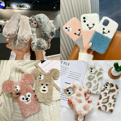 For IPhone 11 12 Pro Max 7 8 + Plush Rabbit Bear Phone Case Fuzzy Fluffy Cover • 5.16£