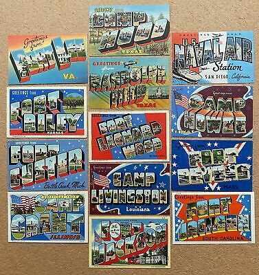 $39.95 • Buy 13 MILITARY LARGE LETTER Linen Postcards - WWII 1940's - Great Lot!