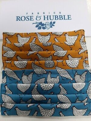 £7 • Buy Hand Made Rose And Hubble Cotton Chickens Face Mask, Adjustable Reversible