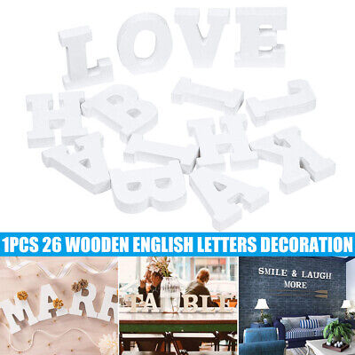AU8.69 • Buy 8cm Wooden Letter Words MDF Wooden White Letters & Alphabet Craft Home Decor