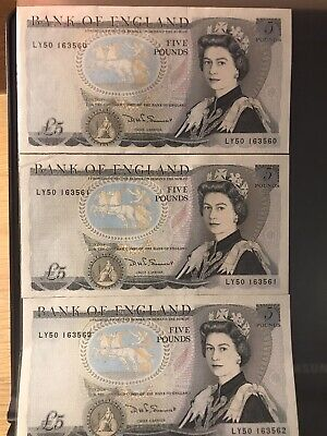 3 Old Duke Of Wellington £5.00 Notes. Consecutive Serial Numbers • 16£