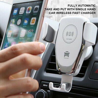 $ CDN8.35 • Buy 15W Fast Qi Car Mount Wireless Charger Phone Holder Rack For IPhone Samsung AU