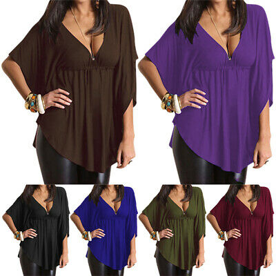 AU22.99 • Buy Womens Deep V Neck 3/4 Sleeve T Shirt Ladies Causal Baggy Tops Blouse Plus Size