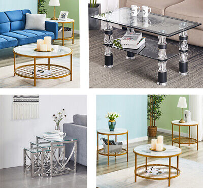 Eclipse Glass Nest Of Tables 3 Clear Transparent Set Side Lamp End Table Home • 94.99£