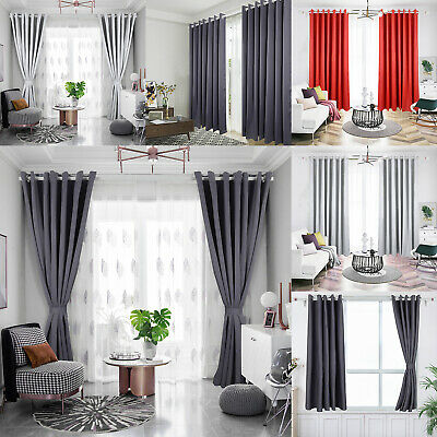 £12.59 • Buy Pair Ready Made Thick Blackout Curtains Thermal Ring Top Eyelet+ Free Tie Backs