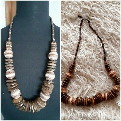 Costume Jewellery  Flat Wood Bead And Material Beaded Necklace.  • 2£