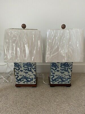 Ralph Lauren Porcelain Table Lamp Pair - Chinese Dragon Brand New White And Blue • 249.99£