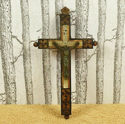 Beautiful Antique Inlaid Wood & Mother Of Pearl Stations Of The Cross Crucifix • 16.99£