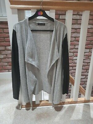 Ladies Grey Waterfall Cardy Cardigan With Black Faux Leather Sleeves Size 10 • 2£