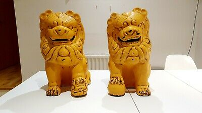 Pair Of Glazed Ceramic Chinese/Imperial Guardian Lions (foo Dogs), 48 X 38 Cm • 108£