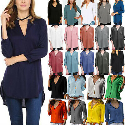 AU21.59 • Buy Plus Size Ladies Solid V-Neck Casual Loose Shirts OL Blouse Office Casual Tunic