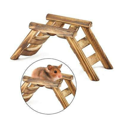 Pet Hamster Mouse Bird Wooden Bridge Climbing Ladder Exercise Game Stairs Toy • 4.23£