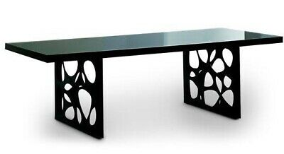 AU1200 • Buy Nick Scali Dante Black Glass 8 Seater Dining Table With 8 White Leather Chairs!!