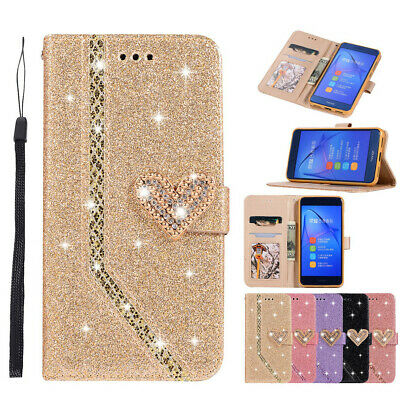 £5.99 • Buy Bling Diamond Case & PU Leather Flip Cover For Huawei P8 P9 P20 Lite Mate 10 Pro