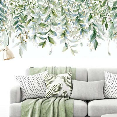 Green Leaves Wall Stickers For Bedroom Living Room DIY Wall Decals Door Mural FG • 5.19£