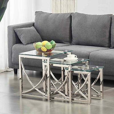 Nest Of 3 Tables Coffee Table 3 Set Unit Clear Tempered Glass Table Top Side End • 949.99£