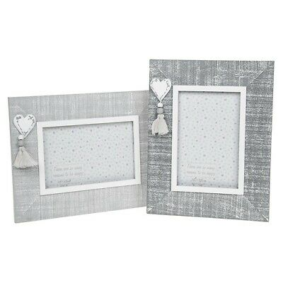 Shabby Chic Provence Photo Frame Cool Grey Wood Frame Heart Detail 4 X 6  • 10.95£