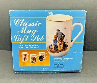$ CDN12.69 • Buy Norman Rockwell Museum Collections Classic Mug Set 4 Piece. Gold Trimmed 4  Tall