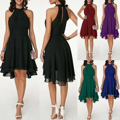 AU24.89 • Buy Plus Size Womens Chiffon Sleeveless Dress Cocktail Prom Mini Dress Solid Party