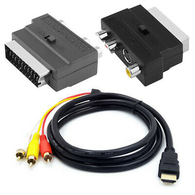 AU5.99 • Buy 1080p HDMI Male S-video To 3 RCA AV Audio Cable W/ SCART To 3 RCA Phono Adapter